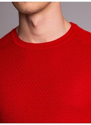 Dufy Bısıklet Yaka Desenlı Sıyah Erkek Trıko - Slım Fıt Kırmızı